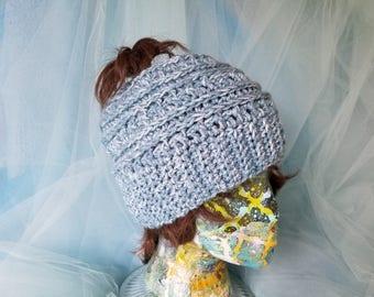 Messy bun hat, crochet hat, ponytail hat, beanie, slouch hat