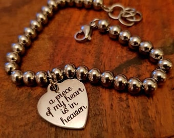 Memorial Bangle a piece of my heart is in heaven stainless steel Bracelet gift for friend suffering bereavement child loss angel baby memory