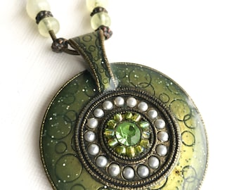 Green pendant Vintage costume jewelry large necklace