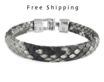 Men's snakeskin bracelet, Men's jewelry, Genuine, Authentic men's cuff, hammered clasp, real, gift for him, custom made, Valentines day gift