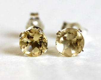 Citrine Stud Earrings  5 mm Sterling Silver  November Birthstone  Natural Gemstones