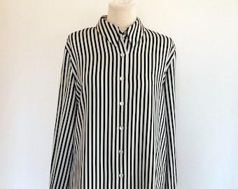 Liz Claiborne Womens Black & White Striped Shirt, Non-Iron, Button Down Shirt