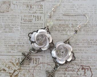 Rose earrings crosses silver filligree handmade jewelry silver roses sterling vintage rosary