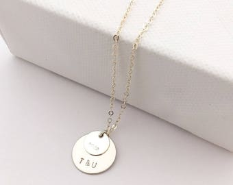 Personalised Silver Double Disc necklace - delicate sterling silver necklace