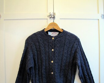 VTG 1990's Blue Cambridge Dry Goods Wool Cardigan Sweater, Women's Small to Medium, Blue, Cambridge Dry Goods, Wool, Irish, Cable Knit
