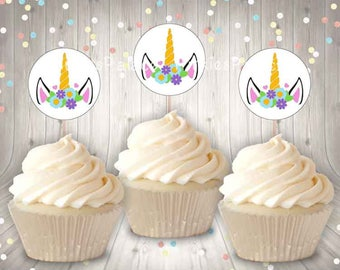 Unicorn Cupcake Picks Birthday Food Picks Skewers Set of 12 CT038