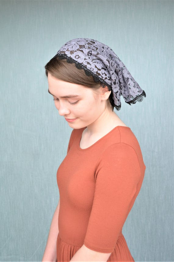 Smoke Blue Lace Convertible Head Cover with Ties | Catholic Chapel Veil for Mass Veil with Ties Catholic Mantilla Robin Nest Lane Grey Veil