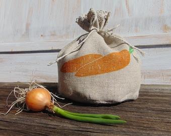 Small kitchen storage bag Food Natural linen Fabric Reusable Gift Favor Grocery Veggie bag Carrot