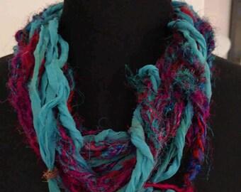 ResQ Sari Ribbon Scarf Necklace in Blues, Aqua