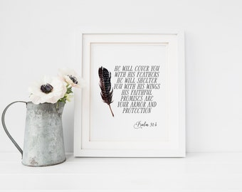 He will cover you with His feathers Wings Psalm 91:4 Floral Bible Verse Print Christian Nursery Art Scripture Printable Bible Verse Print