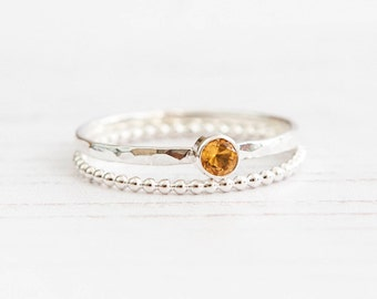 Citrine Ring, Citrine Silver Stacking ring, November birthstone, Yellow gemstone, 3mm Citrine, UK sellers only