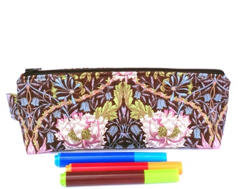 Oblong Pouch, Stationery Gift, Pencil Case, Planner Pen Bag Flat Bottom, Large Makeup Bag, Pretty Gift for Mum Under 35, Floral Fabric Purse