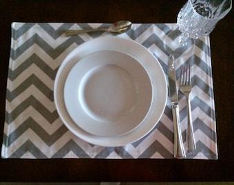 Grey Chevron Placemats, Reversible Grey/White Placemats, Table Linen