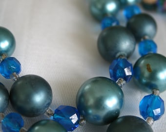 Vintage Blue Green Beaded Necklace and Earrings
