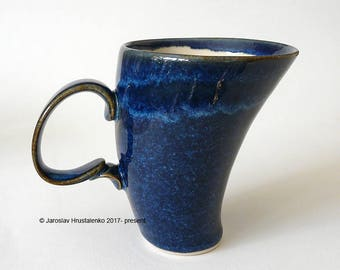 BLUE COFFEE MUG Dark Blue Tea Cup Tango Dancer Mug for Tea or Coffee, Certified Artist Made Stoneware, Ready to Ship, Handmade Pottery Gift