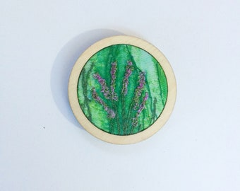 Embroidered heather brooch