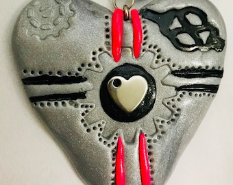Robot Heart - Handmade Silver, Black and Pink Polymer clay Necklace