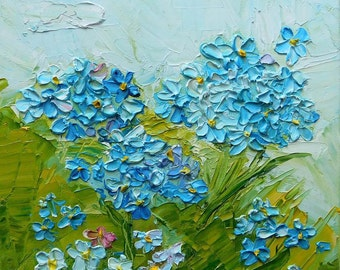 Blue Flowers  Original impasto oil painting No.04-03 ready to hang