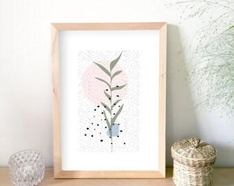 Affiche plante, illustration, art graphique, décoration maison, affiche scandinave, moderne, affiche design, cadeau pour femmes