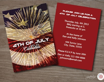 Digital Fourth of July Party Invitation, Independence Day, Fireworks, Red, White, and Blue flag, Custom, 4th of July, Gathering, Patriotic