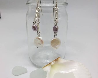 silver and pearl earrings, dangle pearl earrings, keishi pearl earrings, pearl earrings, earrings, bridal jewelry, long pearl earrings,