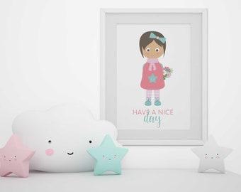 Baby room decor, baby girl painting, nursery prints, baby print, pink girl illustration, pink nursery decor, baby girl nursery art, wall art
