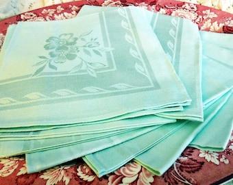 Set of EIGHT Mint Green, Formal Table Napkins, Satin Damask, Floral Pattern