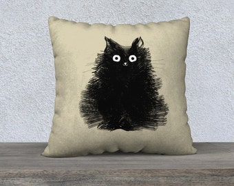 Cat Pillow Black Cat Pillowcase Cover Decorative Throw Pillows Illustration Drawing Biege Pillow 18x18 or 22x22 Pillow Cover - Duster
