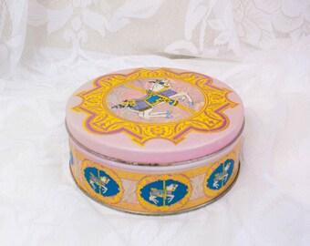 Pink Carousel Vintage Tin - Carousel Horse - Storage Tin - Storage Box - Sewing Box - Sewing Tin - Storage Tin - Pink Decor - Pink Vintage