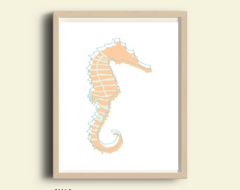 Beach poster Seahorse print,  instant download, printable art beach house decor, printable wall art beach poster, download beach decor