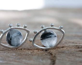 Evil eye studs - 3d stud earrings - Tourmalated Quartz earrings - Sterling silver eye studs