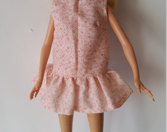 """B 034 Handmade for Barbie and other 11 1/2"""" fashion doll dropped waist pink floral sundress"""