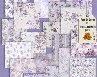 Digital kit FLORAL LAVANDER, papers, floral papers, lavender, garden, spring, flowers, lilac