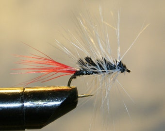 Fishing Fly - Lure - Fly Fishing - Black White Red - Attractor -  - Number 10 Hook - Michigan - Trout