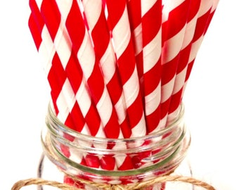 25 Holiday Red - Cherry Red Stripes paper straws // Baby Shower // candy dessert buffet table // Valentines // First birthday/new year party