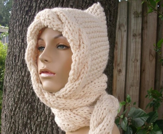 Cream Womens Ear Flap Hat - Cream Cable Scarf Hat - Hooded Scarf Cream Knit Hat - Cream Scarf Cream Hat Knit Accessories - 34 Color Choices