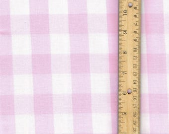 Pink Gingham Fabric, Pink cotton fabric, sewing fabric, quilting fabric, 1 inch gingham