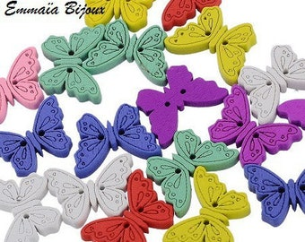 6 butterflies 18 x 24 mm wooden buttons