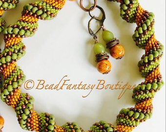 Dutch Spiral-Spiral Necklace- Beaded Spiral- Beaded Necklace- Beadwoven Necklace- Fall Colors Jewelry- Jewelry Set- Free shipping US only