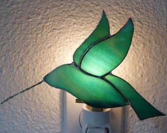 Hummingbird Night Light, Green Blue Stained Glass, Bird, Wall Plug in, Birthday Gift For Her,  U L Certified, Bathroom Bedroom Kitchen Decor