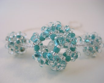 Aqua and silver beaded bead necklace