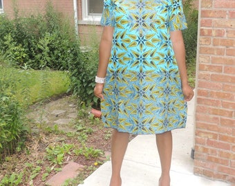Embellished Ankara Dress kaftan, Embroidered African Print Dress, Flowing African print Dress with scarf, Ready to ship