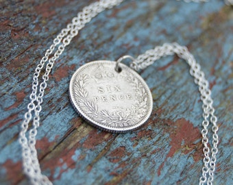Antique 1887 Serling Silver Sixpence and sterling silver chain.