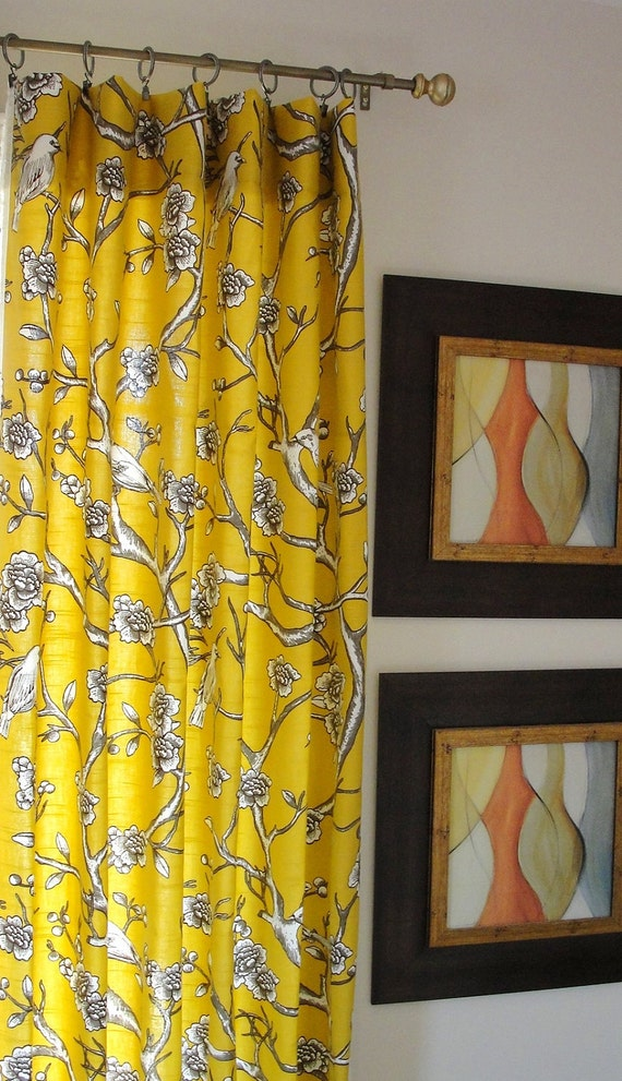 Items Similar To Curtains Panel Yellow Drapes Designer