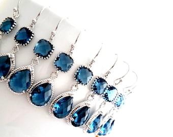 Navy Earrings, Sapphire Earrings, Wedding Jewelry Bridal Earrings Dangle drop Earrings Bridesmaid Gift, Christmas Gift