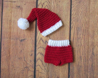 Santa Hat and red shorts  ~ Christmas Photography Prop ~ Sizes Newborn to 12 months~red hat and crochet bloomer shorts