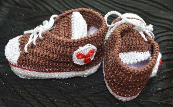 Gestrickte Schuhe Braun Baby Booties häkeln Baby Schuhe Baby