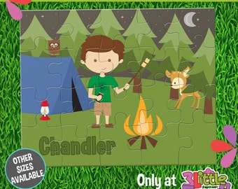 Boy Camping Puzzle - Personalized 8 x 10 Puzzle - Personalized Name Puzzle - Personalized Children Puzzle - Personalized Camping Puzzle