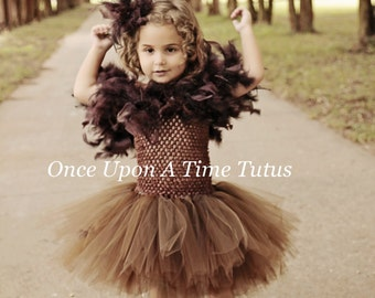 Owl Inspired Tutu Dress - Girls Size Newborn 3 6 9 12 18 Month 2T 3T 4T 5 6 7 8 10 12 Birthday Party - Halloween Costume Brown Feather Wings  sc 1 st  Etsy & Owl tutu dress   Etsy