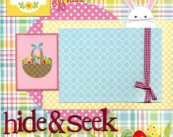 Easter Egg Hunt - Hide & Seek - 12x12 Premade Scrapbook Page